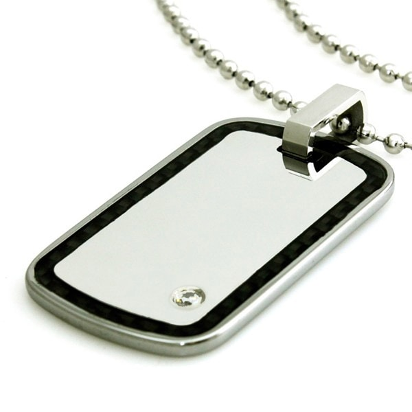 Tungsten Carbon Fiber Edge White Mirror Dog Tag ID Pendant - 24 inches