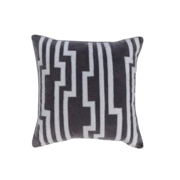 """18"""" Smokey Black and Silver Gray Charming Key Patterned Decorative Throw Pillow"""