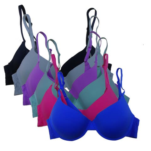 Women's 6 Pack Laser Cut Solid Color Lace Band Push Up Bras