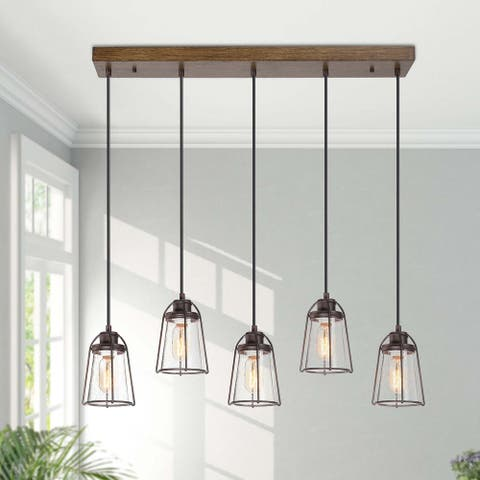 "Farmhouse 5 Lights Linear Chandelier Seeded Glass Kitchen Island Lighting - L29"" X W4.7"" X H69"""