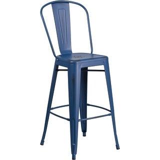 "Brimmes 30"" High Metal Barstool Distressed Antique Blue w/Curved Vertical Slat"
