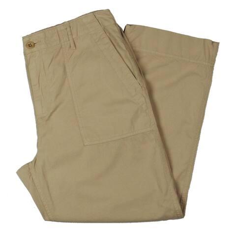 Lauren Ralph Lauren Womens Nyusha Cropped Pants Cotton Straight Leg - Tan