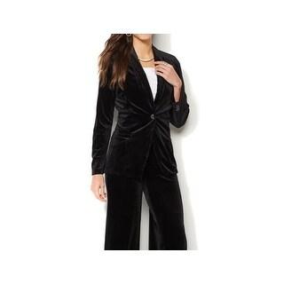 IMAN NEW Jet Black Womens Size Large L Velvet One-Button Holiday Blazer