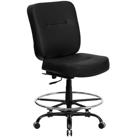 Big & Tall 400 lb. Rated Black LeatherSoft Ergonomic Drafting Chair