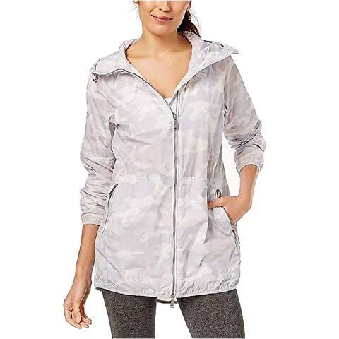 Calvin Klein Performance Women's Camo-Print Packable Hooded Jacket (White, XL)