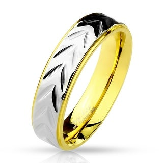 Scale Pattern Center Step Edge Gold IP Stainless Steel Ring (Sold Ind.)