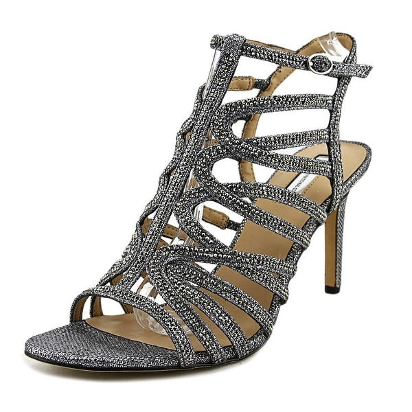 INC International Concepts Gawdie Women Open Toe Canvas Silver Sandals