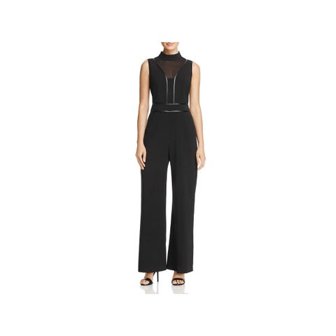 Adelyn Rae Womens Jumpsuit Faux Leather Trim Mesh V-Neck