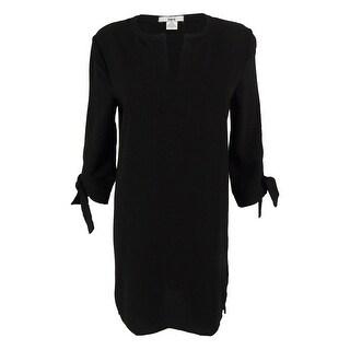 Bar III Women's 3/4 Sleeves Split Neck Shift  Dress
