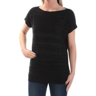 RALPH LAUREN $80 Womens New 1046 Black Textured Knit Short Sleeve Sweater S B+B