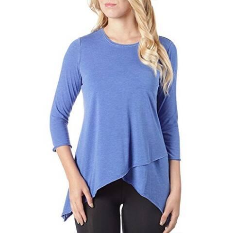 Calvin Klein Women's Performance Asymmetrical-Hem Heathered Top, Blue (X-Small)