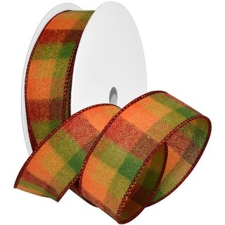 """October Plaid Wired Ribbon 2.5""""X20yd-Orange/Red/Green"""