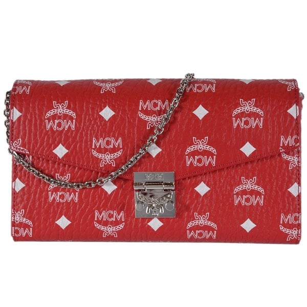 864887091 Shop MCM Red White Coated Canvas Visetos MILLIE Crossbody Purse Bag ...