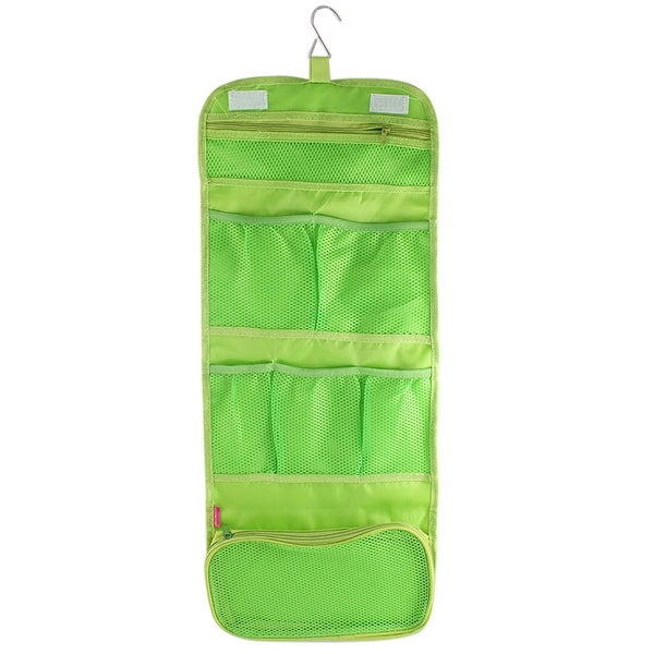 Outdoor Travel Green Nylon Makeup Cosmetic Pouch Toiletry Storage Bag Organizer