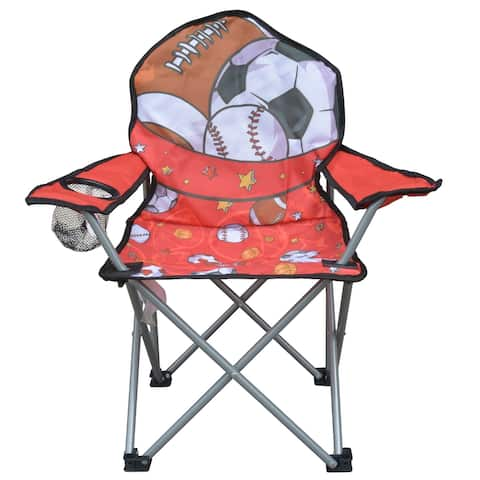 Jeco Kids Outdoor Folding Lawn and Camping Chair with Cup Holder, Sport Camp Chair