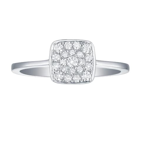 Lab Grown Diamond Cushion Halo Ring, 1/5 Ctw 10K White Gold by Smiling Rocks