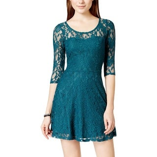 Material Girl Womens Juniors Cocktail Dress Lace Above Knee