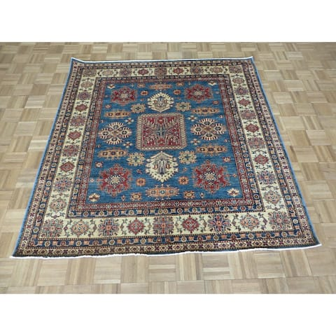 """Hand Knotted Blue Kazak with Wool Oriental Rug (5'10"""" x 6') - 5'10"""" x 6'"""