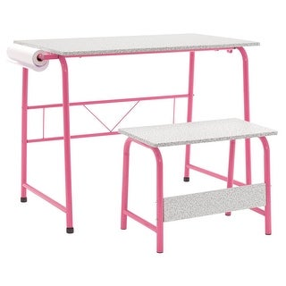 Offex Project Center, Kids Craft Table with Bench Gray - Pink