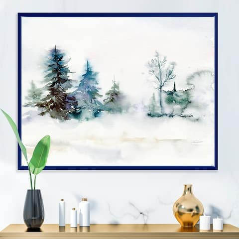 Designart 'Christmas Minimalistic Forest Landscape and Snow' Lake House Framed Canvas Wall Art Print