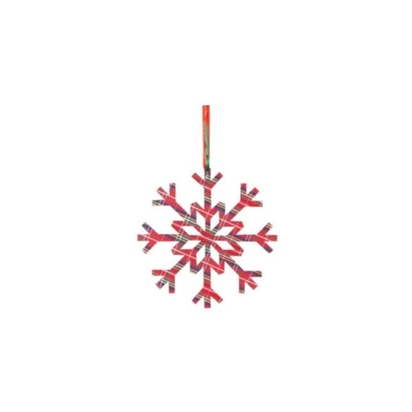 "8"" Country Cabin Red Tartan Plaid Radiating Snowflake Christmas Ornament"