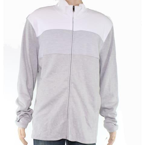 Alfani Mens Sweater White Full Zip Textured Colorblocked
