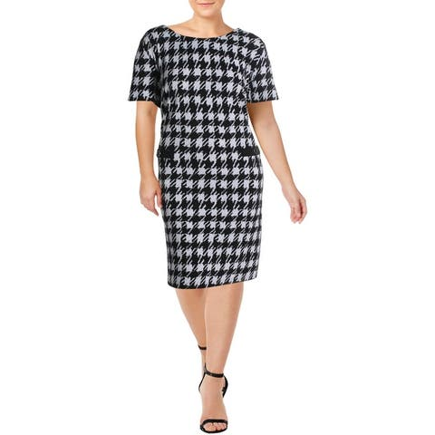 Connected Apparel Womens Plus Wear to Work Dress Knit Printed - Black