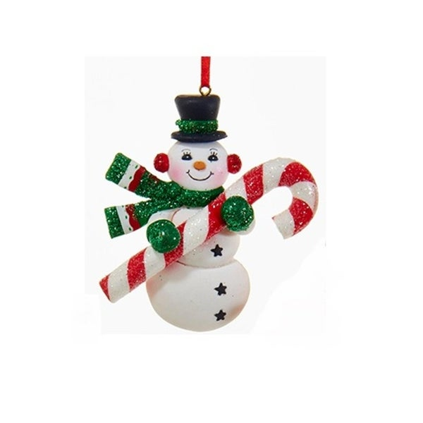 "4"" Peppermint Twist Snowman with Green Mittens and Candy Cane Christmas Ornament - WHITE"