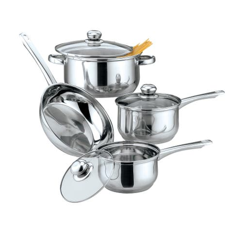 Culinary Edge 02177 Classic 7 Piece Cookware Set, Stainless Steel