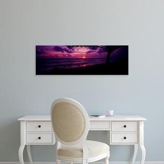 Easy Art Prints Panoramic Images's 'Sunrise over the sea, Pounders Beach, Oahu, Hawaii, USA' Premium Canvas Art