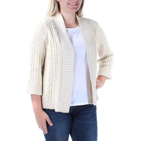CHARTER CLUB Womens Beige 3/4 Sleeve Open Cardigan Sweater Petites Size: L