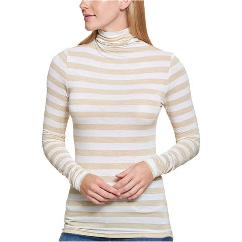 Tommy Hilfiger Womens Metallic-Striped Basic T-Shirt