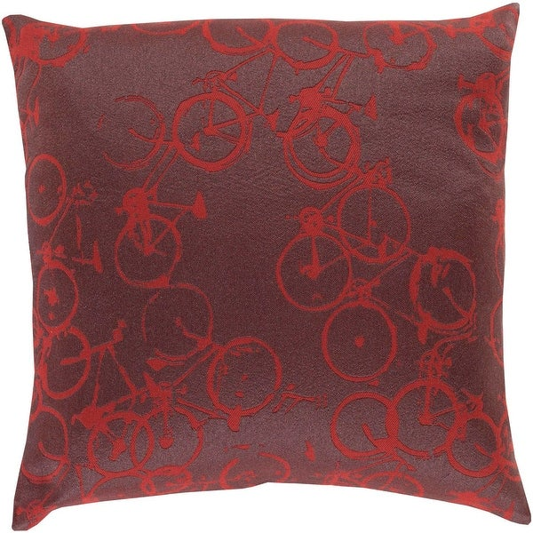 """20"""" Crazed Cycling Steel Gray and Cranberry Red Decorative Throw Pillow - Down Filler"""