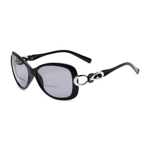 Readers.com The Delia Bifocal Reading Sunglasses Retro Square Reading Glasses