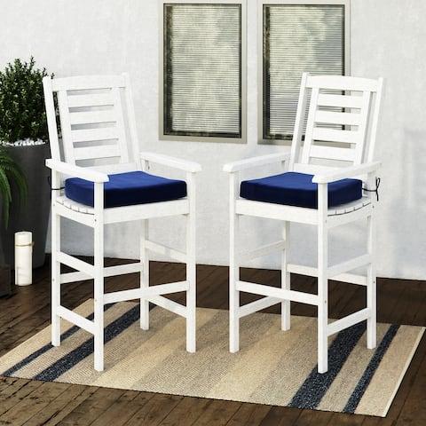 CorLiving Miramar Whitewashed Hardwood Outdoor Bar Height Chairs, 2pc