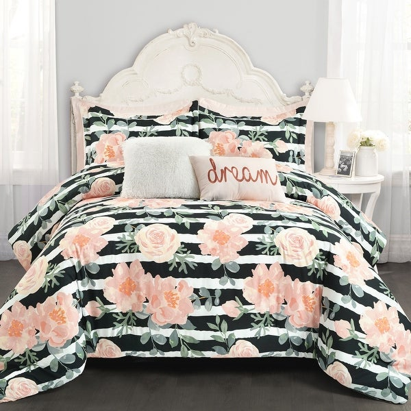 Lush Decor Amara Watercolor Rose 7 Piece Comforter Set. Opens flyout.