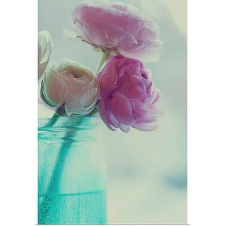 """""""Pink and white ranunculus flowers in aqua colored vase."""" Poster Print"""