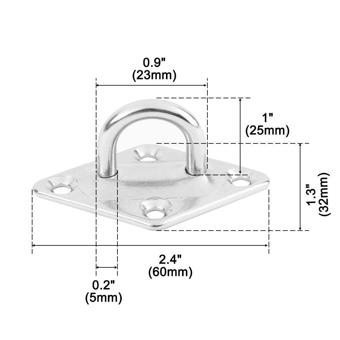 304 Stainless Steel Rhombus Shape Enclosed Ceiling Hook Hanger Silver Tone 6pcs