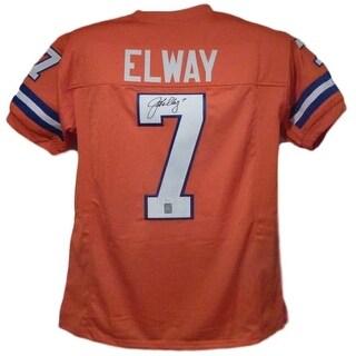 John Elway Autographed Denver Broncos Size XL Orange Jersey JSA