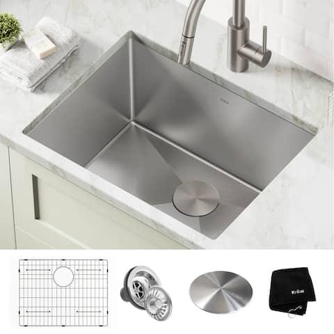"KRAUS Standart PRO Stainless Steel 24"" Undermount Laundry Utility Sink"