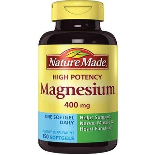Nature Made High Potency Magnesium 400 mg 150 Softgels Dietary Supplements - YELLOW - 60