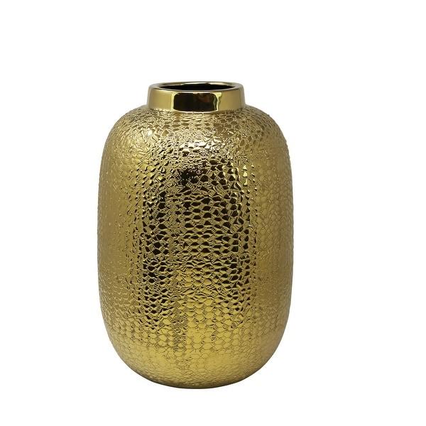 Decorative Ceramic Table Vase with Alligator Skin Like Texture, Large, Gold