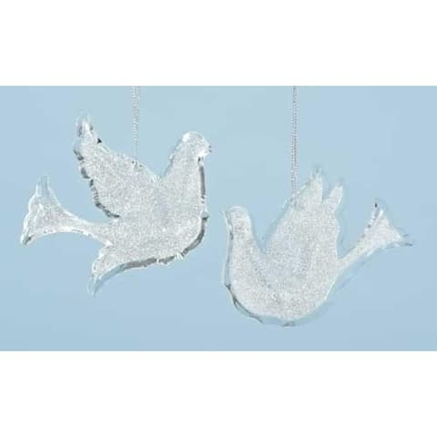 """Pack of 12 Winter Ice Silver Glittered Bird Dove Christmas Ornaments 4"""""""
