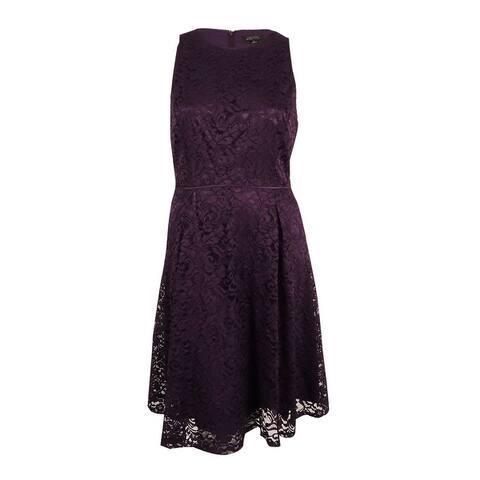 Tahari ASL Women's Lace A-Line Dress - Plum