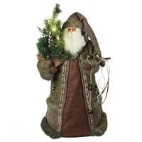 """22"""" Battery Operated LED Rustic Santa Claus Pre- lit Christmas Tree Topper- Clear lights - Brown"""
