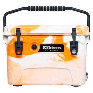 Elkton Outdoors 20 Quart Ice Chest With Bear Resistant Lock Plates, High Performance Commercial Grade Insulation (Orange)