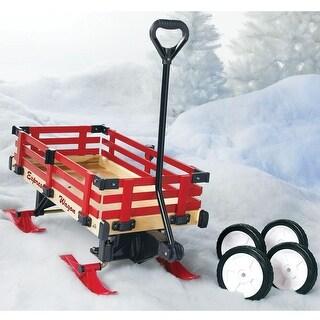 Convertible Wooden Red Sleigh And Garden Wagon