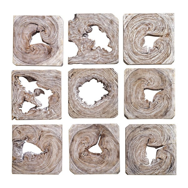 """Set of 9 White Washed Wood Hanging Wall Art 16"""" - N/A"""