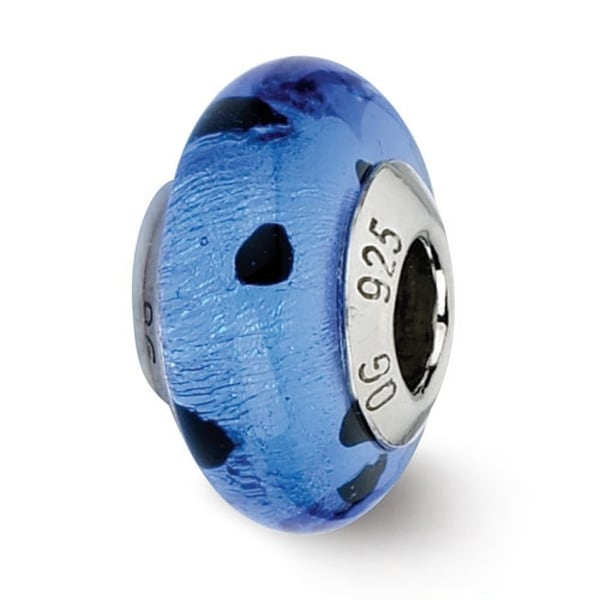 Italian Sterling Silver Reflections Blue/Black Dots Murano Bead (4mm Diameter Hole)