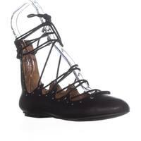 MIA Benni Studded Lace Up Gladiator Sandals, Black - 6.5 us